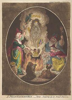 The Regency Era Horror Movie (Image is A Phantasmagoria;—Scene–Conjuring-Up an Armed-Skeleton by James Gillray, 1803.)