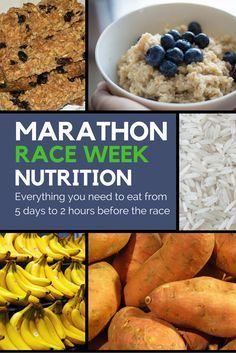 Marathon day is getting closer! Time to start thinking about what to eat before the race. We have our pre race meal set, but what about the rest of the week? This article gives ideas of exactly what you should eat (with an actual list of foods to eat!) during the week leading up to and morning of the Marathon. #Racetraining