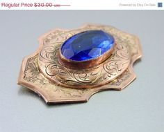 20% OFF - HUGE SALE A Stunning Floral Engraved Victorian Glass Brooch. Sash. Blue Glass Stone. Decorative.Vintage Brooches.(Sale) on Etsy, $24.00