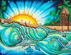 "Drew Brophy Art ""SURF PARK"" S/N Limited edt Canvas 14"" x 18"" Edition of 250"
