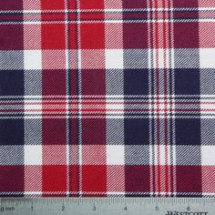 Wool Red White & Blue Plaid Fabric – Designer Fabric by The Yard