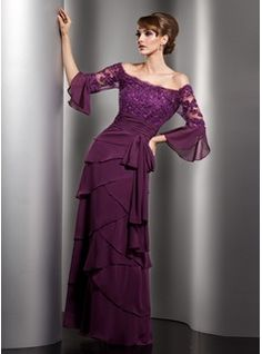 A-Line/Princess Scoop Neck Floor-Length Chiffon  Charmeuse Mother of the Groom Dresse With Lace  Beading (008005753)