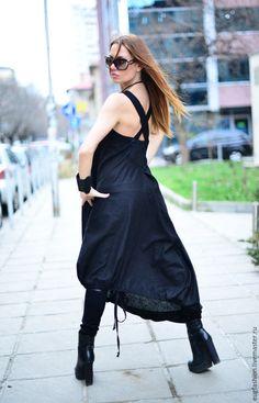 Купить Ассиметричный черный сарафан Сияние - черный, однотонный, сарафан летний, сарафан длинный