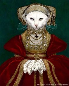Unlike the prolific cat artist Susan Herbert's paintings, most of the paintings of Melinda Copper are anthropomorphic cats copied from masterpieces. Crazy Cat Lady, Crazy Cats, Costume Chat, Animal Gato, Cat People, Pet Clothes, Cool Cats, Cat Art, Pet Portraits