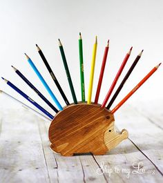 Make this Hedgehog Pencil Holder!  This easy tutorial will show you how.  www.skiptomylou.org #handmadegifts #lowescreator #kidsgifts