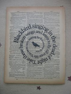 Blackbird  Song -The Beatles - Music Print  by TexasGirlDesigns,
