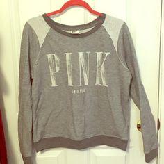 BOGO half off-Pink Crew Neck Sweatshirt Pink crew neck sweatshirt. Only worn a handful of times and in great condition! PINK Victoria's Secret Tops Sweatshirts & Hoodies