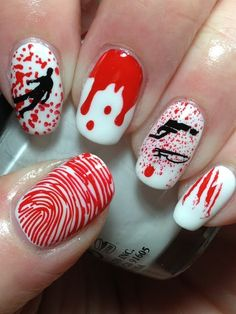 Gruesome Nails! And also patriotic if you are Canadian, Danish, or Swiss! LOL! This could also be a CSI mani, or even a Hallowe'en mani!