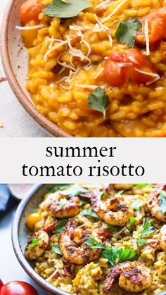 A summery Tomato Risotto highlighting juicy, sweet, vine-ripened tomatoes, and infused with saffron. Serve this as a vegetarian main, seasonal side dish, or top it off with smoky, pan-seared shrimp. Vegetarian-adaptable! Home Recipes, Whole Food Recipes, Dinner Recipes, Cooking Recipes, Tomato Risotto, Farmers Market Recipes, Summer Tomato, Healthy Food, Healthy Recipes