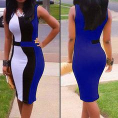 Trendy Sleeveless Scoop Neck Color Block Pullover Women's Dress, BLUE, L in Bodycon Dresses | DressLily.com