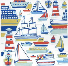 "New greeting card design ""Lots of yachts"" by Kate Cooke for Port and Lemon"