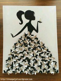 Kleid aus Schmetterlingen Frau Maedchen mit Zopf Leinwand Bild stempeljuli (Cool… Dress made of butterflies woman girl with braid canvas picture stempeljuli (Cool Crafts) Fun Crafts, Diy And Crafts, Crafts For Kids, Arts And Crafts, Paper Crafts, Recycled Crafts, Art Mural Papillon, Butterfly Wall Art, Butterfly Dress