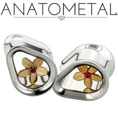 "1/2"" Teardrop Eyelets in ASTM F-138 stainless steel w/bronze Plumeria Inserts; synthetic Ruby gemstones"