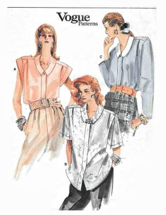 Vogue 9916 Misses Yoke Shirt Size 8 10 12 Bands or Long Plus Size Sewing Patterns, Vogue Sewing Patterns, Vintage Sewing Patterns, Vintage Vogue, Vintage Ladies, Vintage Fashion, Retro Fashion, Plus Size Shirts, Sewing Clothes