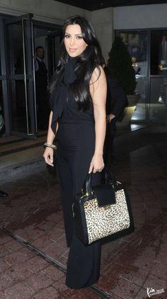 Who Made Kim Kardashian S Black Bow Jumpsuit Jewelry And Handbag Belle Noel