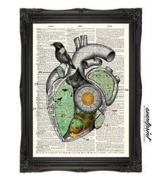 Heart Chamber Map Eclectic Collage Print on an Antique Upcycled Bookpage Unframed