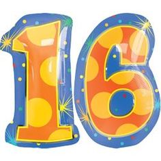 16 Number Balloons - Helium Filled