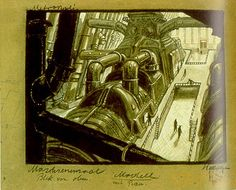 Metropolis 1927 - Film Archive - Erich Kettelhut Drawings 1925-6. Metropolis - Hall of the Machines: View from Above, gouache and coloured pencil on cardboard, 27.5 x 35.5 cm. (c) Filmmuseum Berlin - Deutsche Kinemathek.