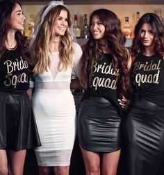Bride Squad photo. Cute picture to take with the bride at a bridal shower or bachelorette party!   Ledyz Fashions    www.ledyzfashions.com
