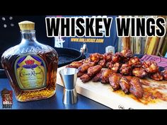 Crown Royal is the star of the show in this Grilled Whiskey Hot Wing Recipe! A kick of heat. A little bit of sweet. Wing Recipes, Meat Recipes, Chicken Recipes, Royal Chicken, Whiskey Chicken, Cornish Hen Recipe, Grilled Wings, Bbq Wings, Candied Bacon