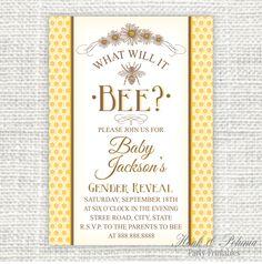 Vintage Inspired Printable DIY It's Meant to Bee Bridal Shower Invitation Gender Reveal Invitations, Diy Invitations, Bridal Shower Invitations, Invites, Diy Shower, Shower Party, Shower Ideas, Elegant Bridal Shower, Bridal Showers