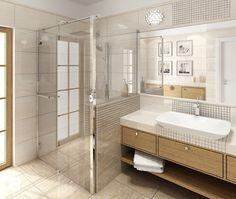 Fajna kabina ( podoba mi siękabina bez brodzika) + fajna umywalka z ładnądrewnianą zabudową + podobają mi się szare płytki - idealna łazienka