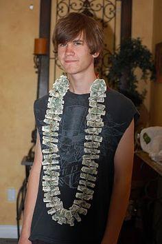 DIY Dollar bill lei for graduation.    Hasselblad, Party of 5