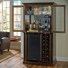 Bars for home - Firenze Wine and Sprits Armoire Bar with 32 Bottle Touchscreen Wine Refrigerator – Bars for home Armoire Bar, Bar Sala, Refrigerator Cabinet, Bar Unit, Home Bar Furniture, Furniture Ideas, Furniture Market, Furniture Dolly, Furniture Stores
