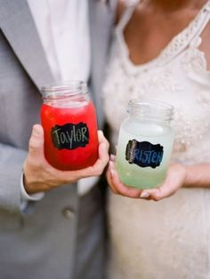 Navy chalkboard paint chalk and mason jars - place card &/or favor.