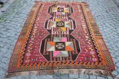 Pink Anatolian Decorative Rug,Handwoven Rug,Ethnic Rug,Home Decor Turkish Rug,Tribal rug,Floor Rug,Bohemian Rug,103x61 inches,262x154 cm