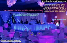 Ice Like Light Up Tables & Bars rental & decorative service - Dehily Essex County, Suffolk County, Bergen County, Uv Black Light, Light Up, Glow Table, Chandelier Centerpiece, Disco Theme, Rockland County
