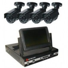 "KIT H.264 DVR + 4CH (4-CH D1) + 7"" monitor + 4 cameras You can see the frame through TV、network、phone at the same time. The LCD DVR with a flexible Bracket, It can support 120 Degree rotate and LCD Scree"