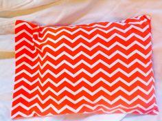 Orange and White Chevron Pillow Case.  This fits a travel pillow.