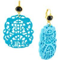 Kenneth Jay Lane Gold-Plated Onyx and Turquoise Carved Drop Earrings$57More details