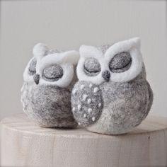needle felted OWL SCULPTURE - sleeping owl - grey owl - horned owl - fibre art - needle felted bird - UK (35.00 GBP) by TheLadyMoth