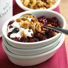 Mixed Berry Crumble For a perfect weeknight dessert, try this simple indulgence of cinnamon and cranberries with a crumble topping.