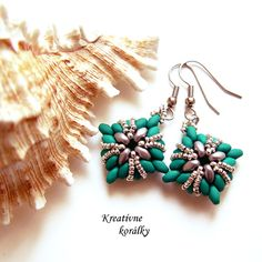 Earring made of Superduo neon beads