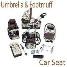 Baby pram  3in1 + pushchair + car seat + UMBRELLA + FOOTMUFF+ 77 cols+ FREE P&P