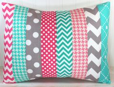Nursery Cushion Cover, Patchwork Pillow Cover, Nursery Decor, 12 x 16 Inches, Coral Pink, Hot Pink, Teal Blue, Mint Green and Gray Chevron