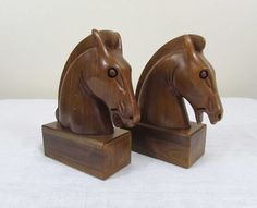 Carved Walnut Wood Horse Bookends  7.25 high  by JanesVintageToo