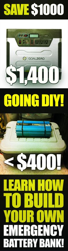 Why would you pay $1,400 on a Goal Zero Yeti 1250 when you can EASILY build one yourself for less than $400??  Save yourself $1000 going DIY!!!   Everything you need to learn how in the featured video series!! So worth the investment!! You can even get all the components you need for your DIY emergency battery bank conveniently on this RESOURCES page of this site!!