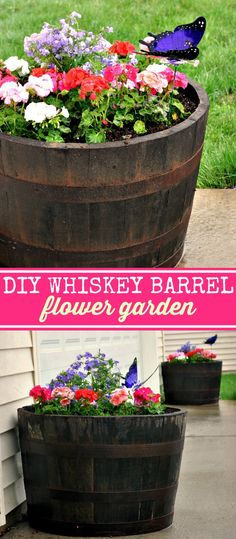 How to Make a DIY Whiskey Barrel Flower Garden