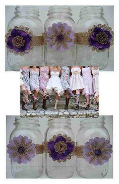 12 Mason Jar Purple Fabric Burlap Country Centerpiece Wedding Decorations | eBay