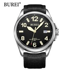Men Watch Top Fashion Brand BUREI Male Luminous Hours Green canvas Strap Waterproof 50m Quartz Wristwatches New Hot Sale Gift