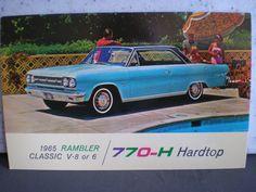 Vintage Mid Century Unused Car Advertisement Postcard - 1965 Rambler Classic - Hardtop by 20thCenturyCool on Etsy