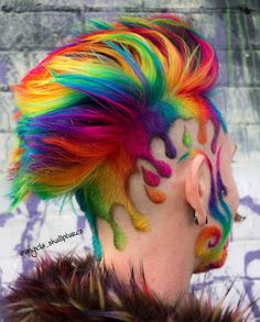 20 ers 2 038 ing 1 124 posts see photos and videos from angela s hair skullptures angela_skullptures mohawk hairstyle hairstyle mohawk Mens Hair Colour, Cool Hair Color, Pretty Hairstyles, Wig Hairstyles, Haircuts, Wacky Hair, Shaved Hair Designs, Hair Tattoos, Creative Hairstyles