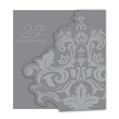 Silver Anniversary Invitation Bulk Diecut Gatefold/Case of 75