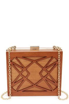 Cute Brown Clutch - Wood Clutch - Brown Purse - $49.00