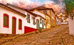 Brazil, Minas Gerais, Tiradentes, 18th century houses