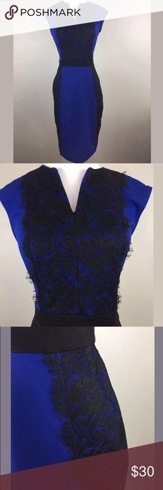 """Danny Nicole Lace Trim Sheath Dress Blue Black M Label-Danny Nicole   Style-Sheath Dress  Condition-Excellent  Size-10  Material-Polyester blend   Measurements:  Bust- 38""""  Waist- 31""""  Hip-40""""  Length-40.5"""" danny nicole Dresses"""